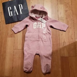 babyGAP - 60 クマ耳つきGAPロゴカバーオール 足つきロンパース