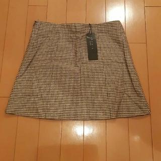 セオリー(theory)の新品未使用タグ付きセオリーtheoryウールブラウンチェック柄スカート150(ミニスカート)