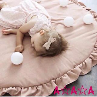新品♡フリル付きプレイマット ピンク ラグ お昼寝に キャノピーに