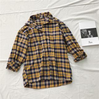 チェックシャツ ロング イエロー ttr22(シャツ/ブラウス(長袖/七分))