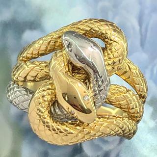☆豪華 絡みあう2匹の蛇 デザインリング☆ K18 ゴールド Pt900 21号