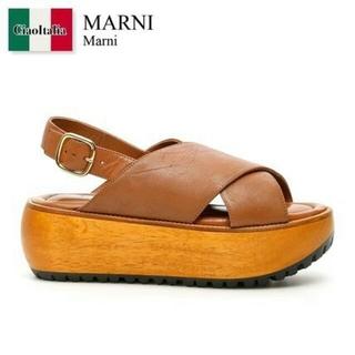 マルニ(Marni)のMARNI プランシー プラットフォームサンダル キャメル36(サンダル)