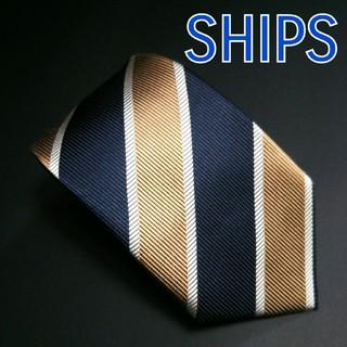 SHIPS - 【極美品】SHIPS レジメンタル ネクタイ ネイビー/ゴールド