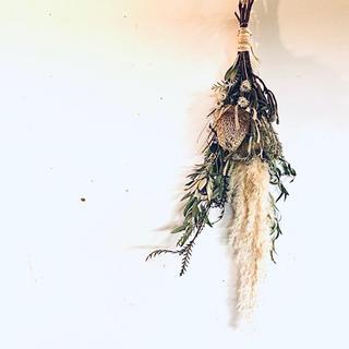 【完売・展示品】ドライフラワー スワッグ バンクシャ ユーカリ等 H77cm(ドライフラワー)