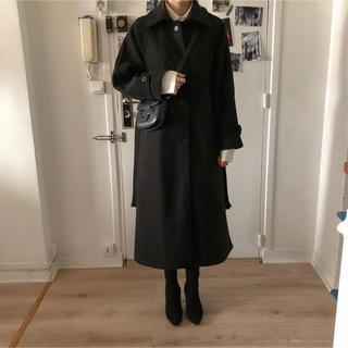 dholic - d holic jellpe ベルト付ウールブレンドロングコート ブラック