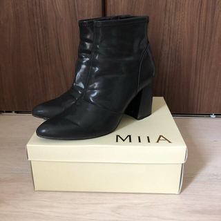 MIIA - miia ショートブーツ 黒 靴 ヒール 3 24 24.5