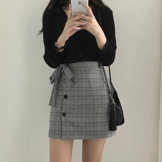 ゴゴシング(GOGOSING)のリボン チェック スカート/韓国洋服 韓国スタイル(ミニスカート)