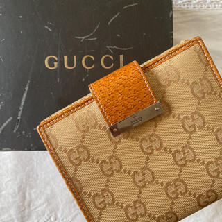 Gucci - GUCCI グッチ GGキャンパスレザー 折財布 二つ折り財布 キャメル