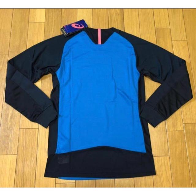 asics(アシックス)の新品 asics ブレード ロングスリーブトップMサイズ黒青パフォーアシックス スポーツ/アウトドアのランニング(ウェア)の商品写真