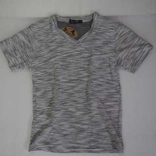 【新品】Tシャツ Vネック ホワイト グレー タオル生地 S (T52)
