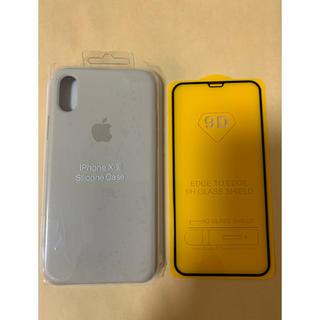 iPhoneXs/x シリコンケース ストーン ガラスフィルム付き