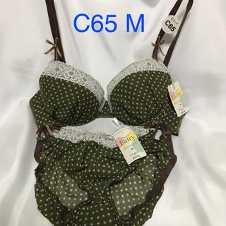 【送料込み】C65 M グリーンの水玉 ブラジャーとショーツ(ブラ&ショーツセット)