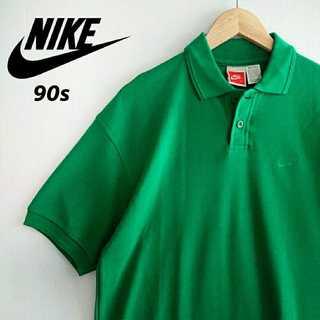 ナイキ(NIKE)の697 90s NIKE 胸ロゴ刺繍 単色 ポロシャツ 海外企画 グリーン(ポロシャツ)