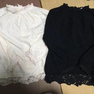 SM2 - sm2  スタンド衿レースブラウス 2枚セット ブラック キナリ