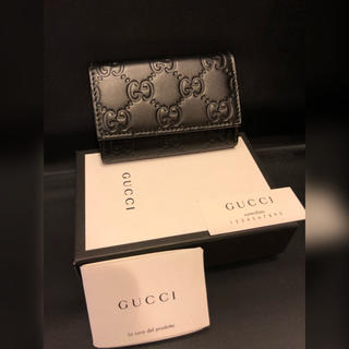 Gucci - GUCCI グッチキーケースシマレザーブラック新品未使用♪