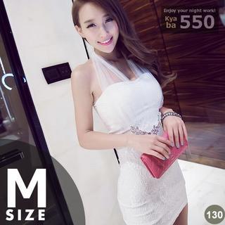 キャバドレス 130W 白 ホワイト ボディコン ミニ シースルー M-L(ミニドレス)