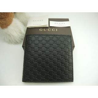 グッチ(Gucci)のグッチ 2つ折り財布 マイクロGG レザー黒 メンズ コンパクトウォレット 新品(折り財布)