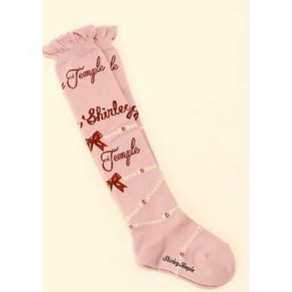 Shirley Temple - シャーリーテンプル ロゴパールオーバーニーハイソックス靴下ピンクリボン