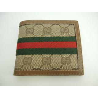 グッチ(Gucci)のグッチ 2つ折り財布 シェリー GG 茶 メンズ コンパクトウォレット 極美品@(折り財布)