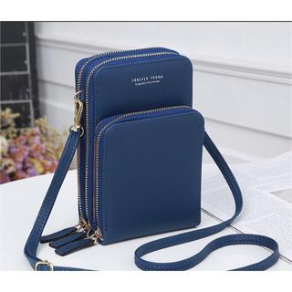 スマホポーチ ネイビー  紺色 ショルダーバッグ ミニポーチ 高品質(ポーチ)