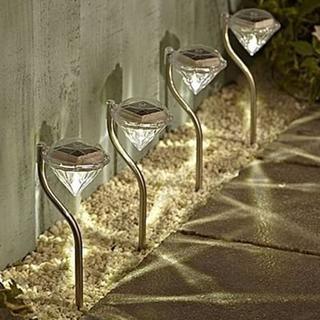 ガーデンライト ソーラー LED 4本セット おしゃれ ダイヤモンド型