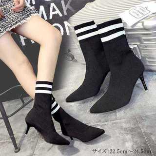 【新品】ブーツ ソックスブーツ レディースブーツ ヒール ショートブーツ 韓国(ブーツ)