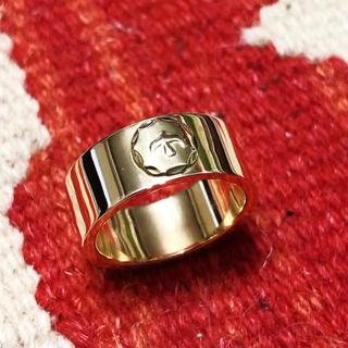 18K金メタル付き全金平打ちリング(リング(指輪))