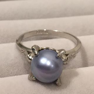 【美品】あこや真珠 ブルーグレー  リング 19Y-69-2(リング(指輪))