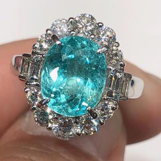 4ctup! パライバトルマリン リング 新品 プラチナ900 ダイヤモンド(リング(指輪))