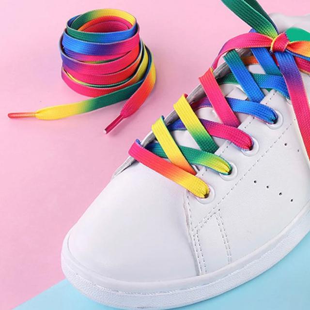 〖激安〗 グラデーション 靴ひも レインボー/Rainbow✦キャンディカラー  レディースの靴/シューズ(スニーカー)の商品写真