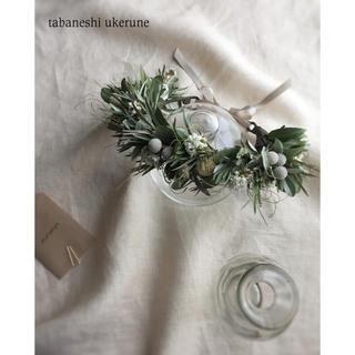 アンティークホワイトの小花を添えた 花かんむり ドライフラワー ヘッドドレス(ドライフラワー)