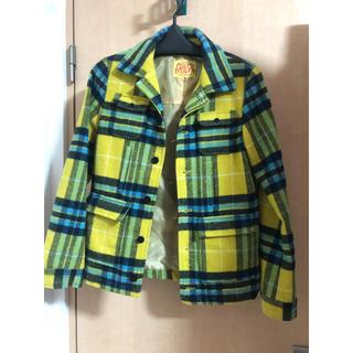 ロデオクラウンズ コート ジャケット チェック イエロー ブルー