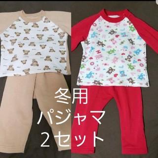 西松屋 - 冬用パジャマ 90 2セット 腹巻きつき 可愛いくまさん
