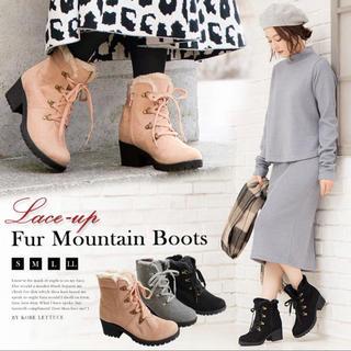 コウベレタス(神戸レタス)のふわふわ もこもこ ブーツ グレー 24cm 24.5cm LLサイズ(ブーツ)
