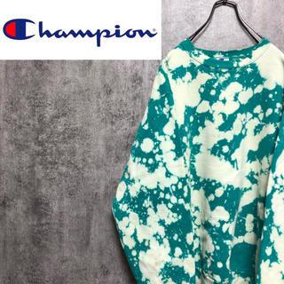 Champion - 【激レア】チャンピオン☆USA製ブリーチ加工ワンポイント刺繍スウェット 90s