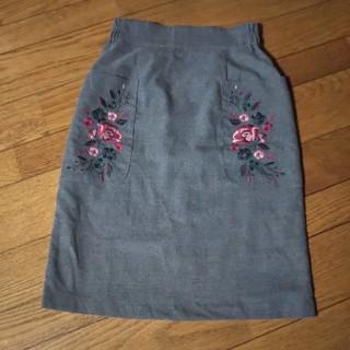 ダブルクローゼット(w closet)のダブルクローゼット 刺繍タイトスカート(ひざ丈スカート)