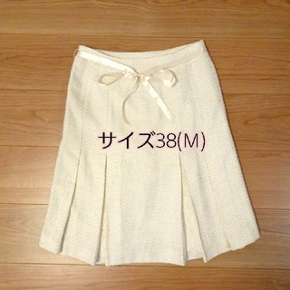 フレアスカート フォーマル スカート ラメ 白 膝丈 入学式 入園式 リボン (スーツ)