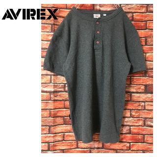 アヴィレックス(AVIREX)のAVIREX ヘンリーネック Tシャツ ダークグレー 上野商会(Tシャツ/カットソー(半袖/袖なし))