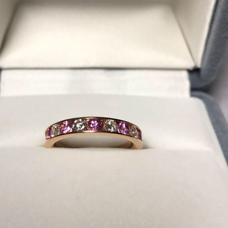 ピンクサファイア&ダイヤハーフエタニティリング(リング(指輪))