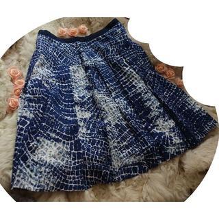 フォクシー(FOXEY)の★フォクシーニューヨーク フレアスカート size38 ネイビー×ホワイト(ひざ丈スカート)