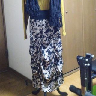 アンティカマキシ丈スカート黒柄F
