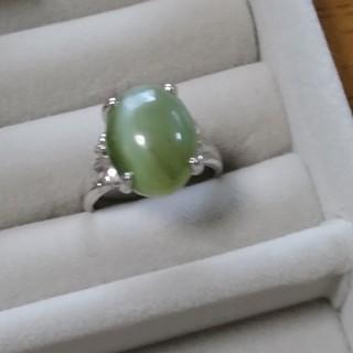 67 昭和レトロ 14K ネフライト リング 指輪 天然石 グリーン(リング(指輪))