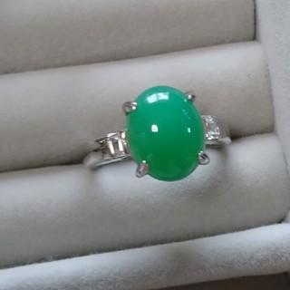 79 昭和レトロ silver925 緑瑪瑙 リング シルバー 指輪 緑石(リング(指輪))