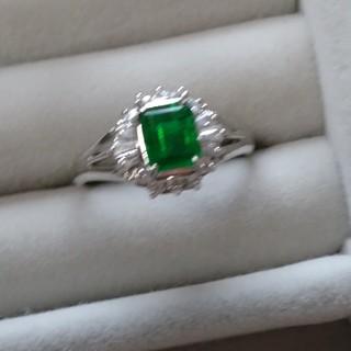 80 昭和レトロ silver 染め水晶 リング グリーン クォーツ 指輪(リング(指輪))