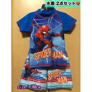 MARVEL - スパイダーマン 子供用水着 ラッシュガード【2点】size:100cm