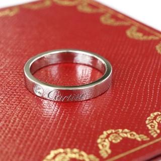 カルティエ(Cartier)のCartierプラチナエングレーブドリング1Pダイヤ付き 48(リング(指輪))