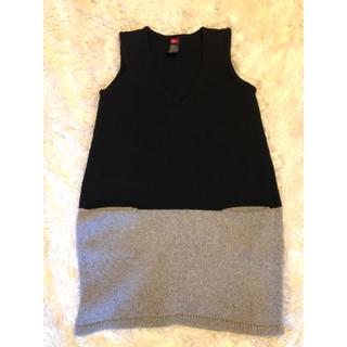 ダブルスタンダードクロージング(DOUBLE STANDARD CLOTHING)のダブスタ ニットベスト ブラック&グレー フリー(ニット/セーター)