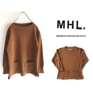 マーガレットハウエル(MARGARET HOWELL)のMHL. リトアニア製 ポケット付き コットンニット Ⅱ ブラウン(ニット/セーター)