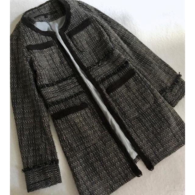 MERCURYDUO(マーキュリーデュオ)のS MERCURY DUOマーキュリーデュオノーカラーロングツイードジャケット レディースのジャケット/アウター(ノーカラージャケット)の商品写真