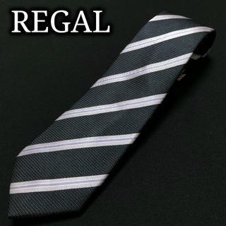 REGAL - リーガル レジメンタル ネイビー ネクタイ ナロータイ A102-W07